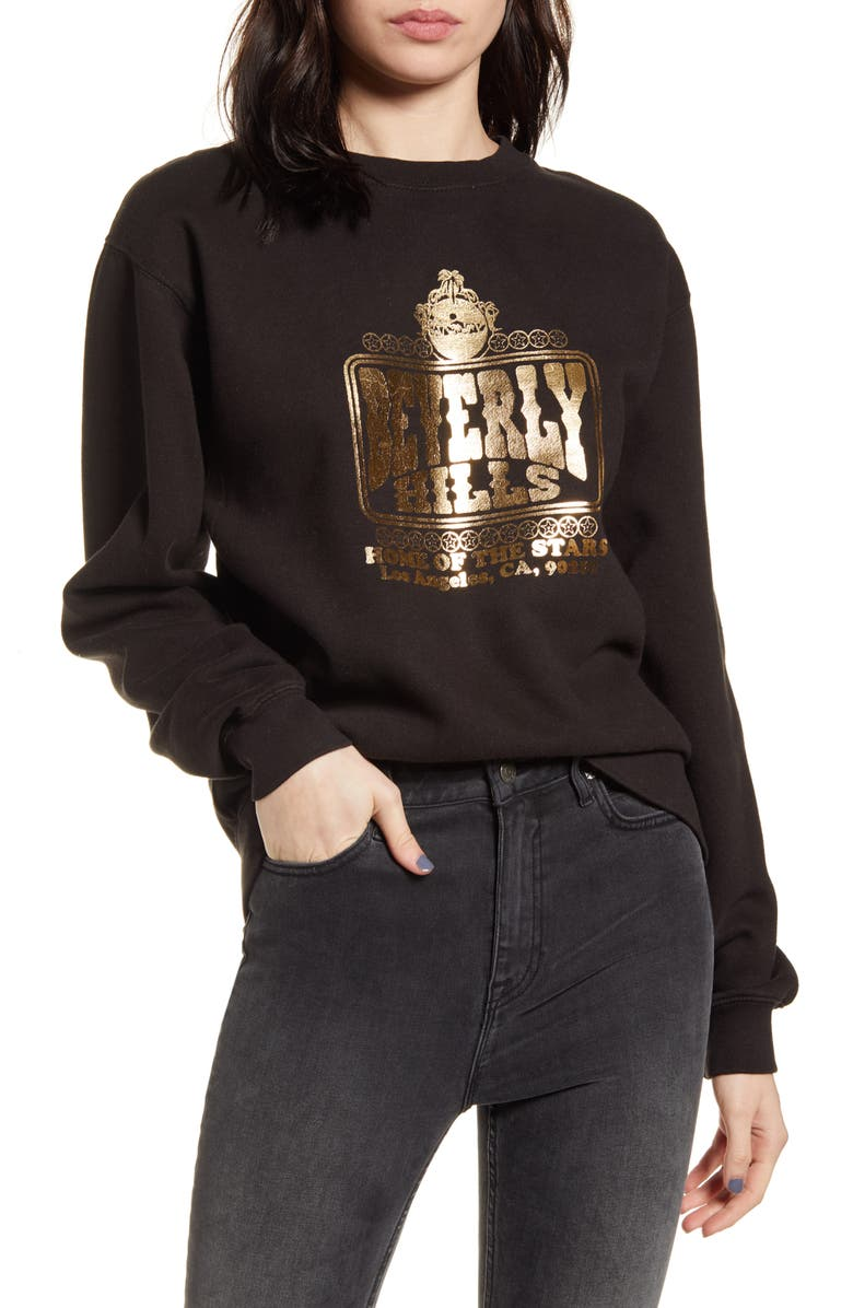 NEEMA CALIFORNIA Beverly Hills Graphic Sweatshirt, Main, color, BLACK