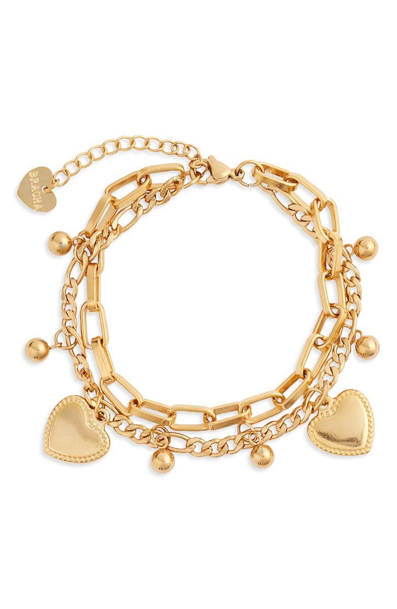 BRACHA Juliet Heart Charm Bracelet, Main, color, 710