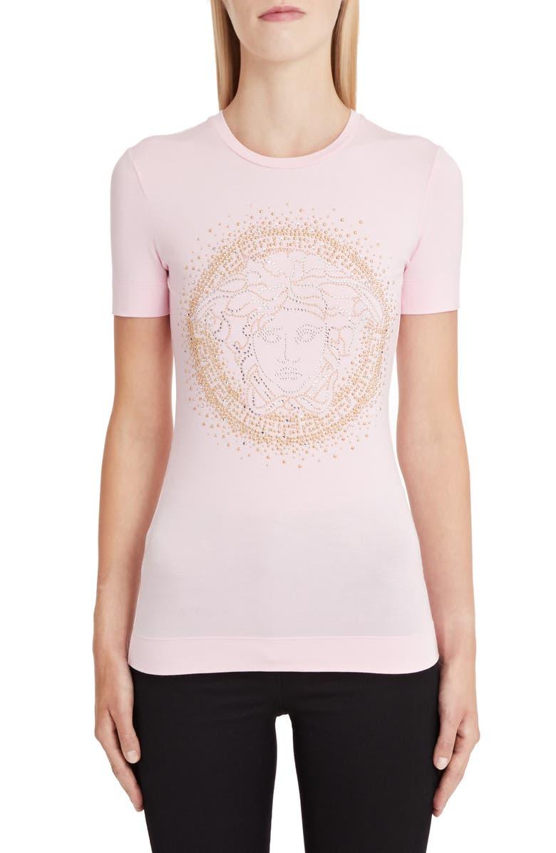 VERSACE Embellished Medusa Logo Tee, Main, color, PINK