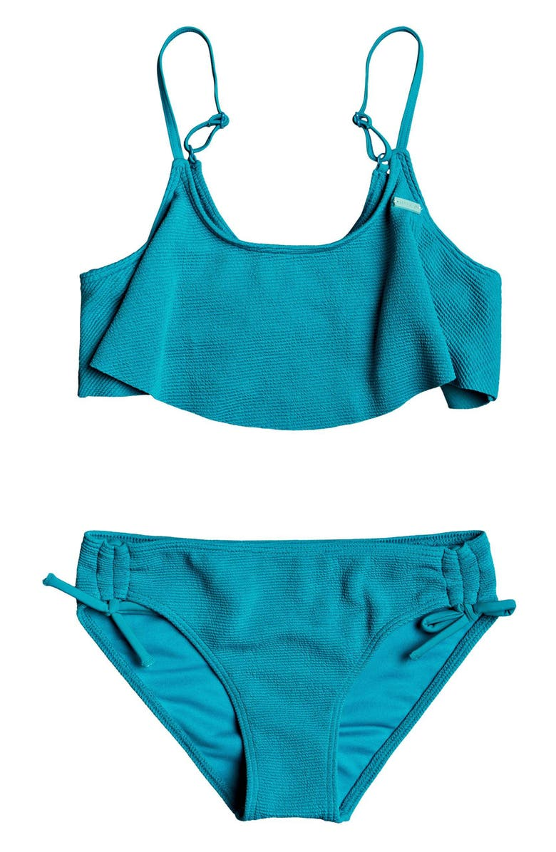 ROXY Sandy Forever Flutter Two-Piece Swimsuit, Main, color, PAGODA BLUE