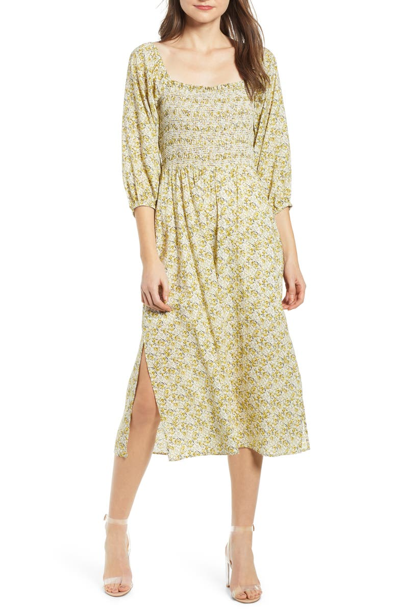 WAYF Nevaeh Smocked Midi Dress, Main, color, 700