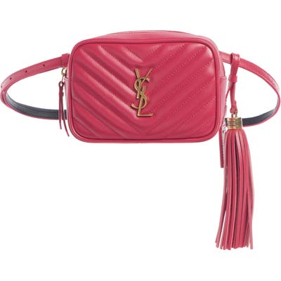 Saint Laurent Lou Quilted Leather Belt Bag With Tassel - Pink