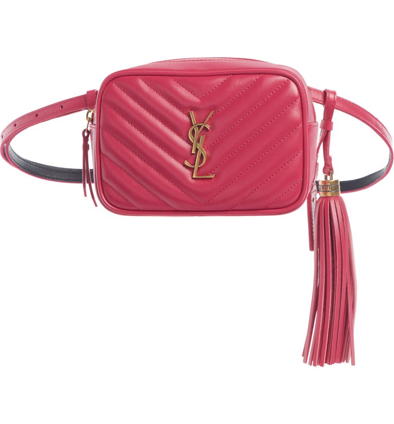 SAINT LAURENT Lou Quilted Leather Belt Bag with Tassel, Main, color, FREESIA/ FREESIA