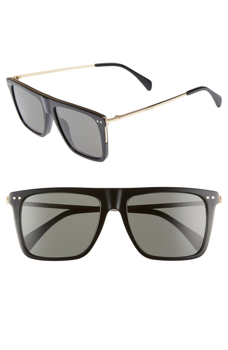 CELINE 54mm Polarized Flat Top Sunglasses, Main, color, 001