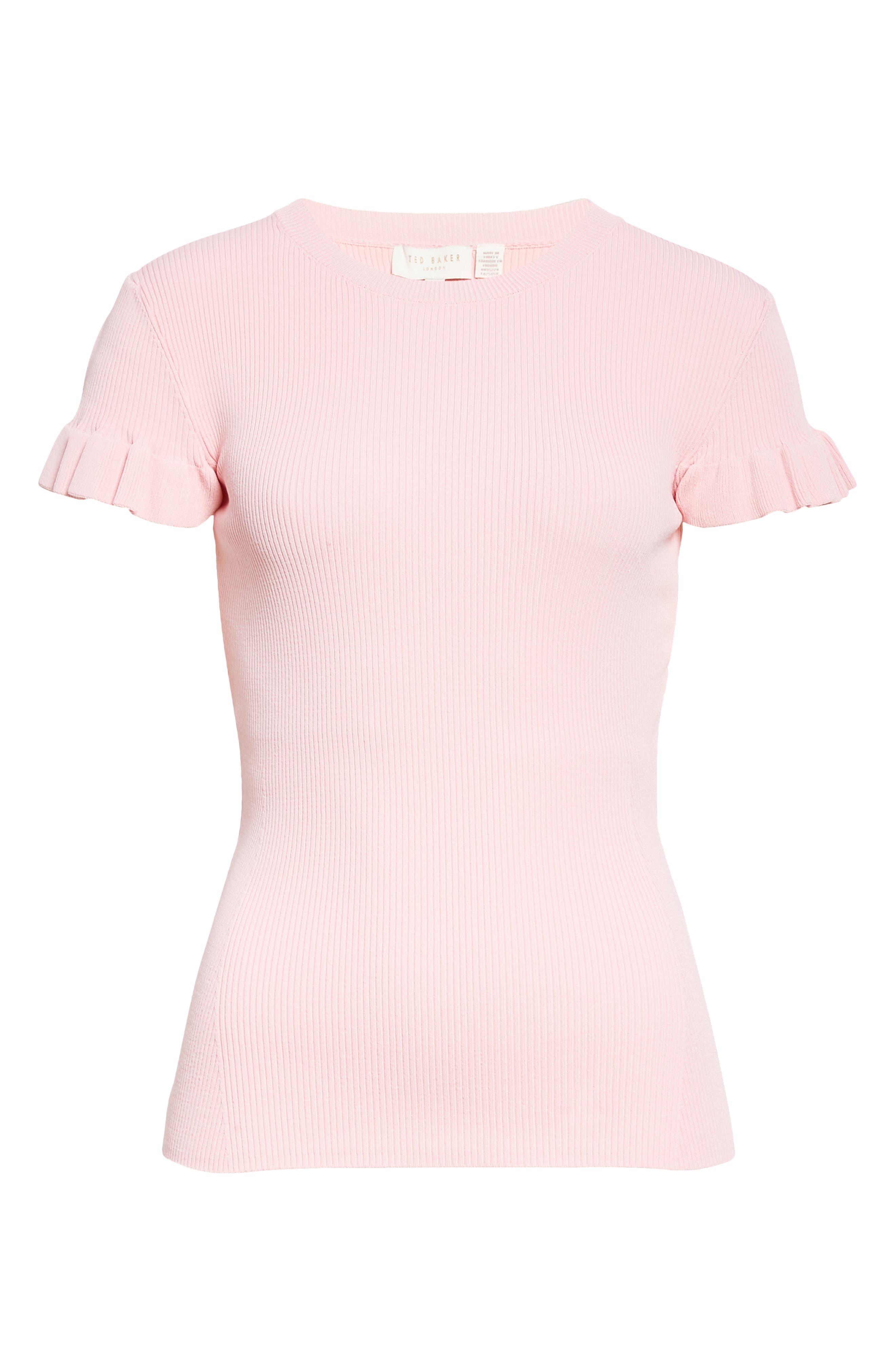 Ted Baker FRILL SLEEVE RIBBED KNIT TOP