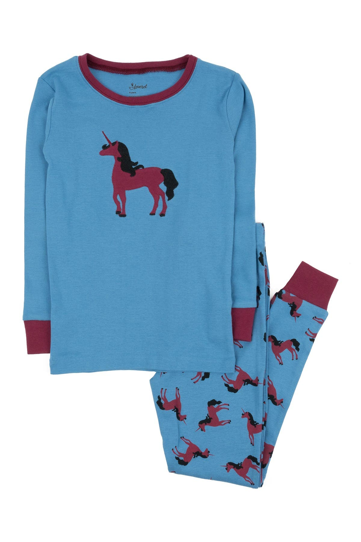 Image of Leveret Blue Unicorn Pajama