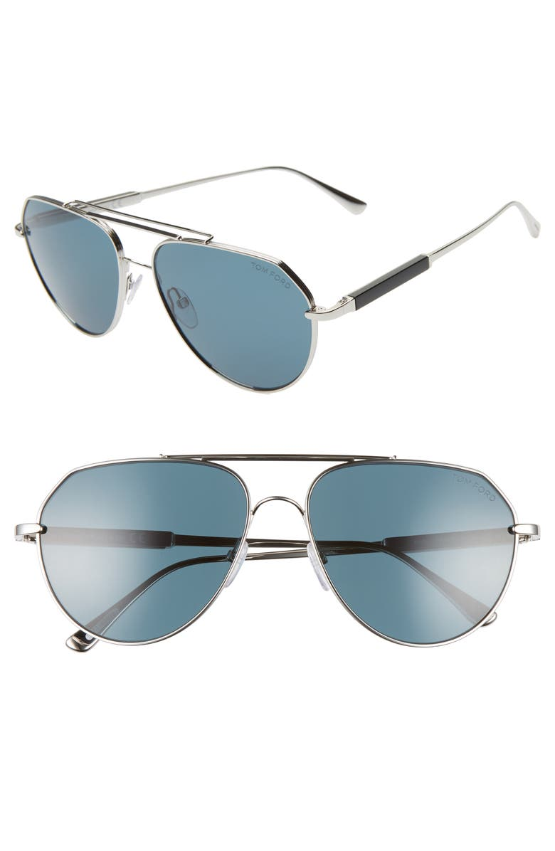 TOM FORD Andes 61mm Aviator Sunglasses, Main, color, PALLADIUM/ BLACK/ TEAL