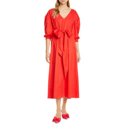 Kate Spade New York Puff Sleeve Midi Dress, Red