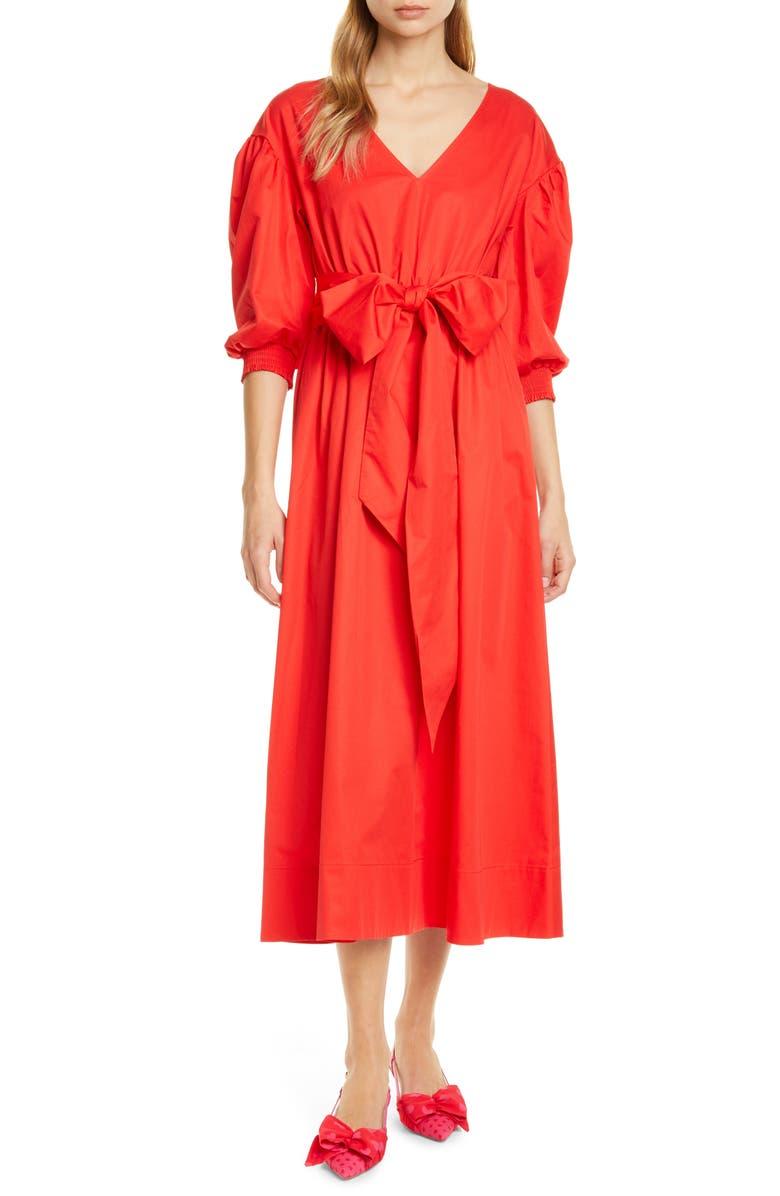 KATE SPADE NEW YORK puff sleeve midi dress, Main, color, ZINNIA RED