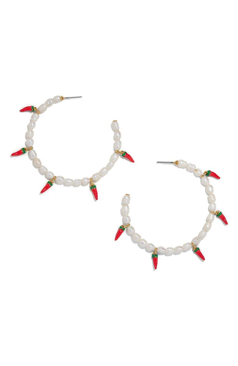 BAUBLEBAR Solita Pearl Hoop Earrings, Main, color, PEARL/ RED