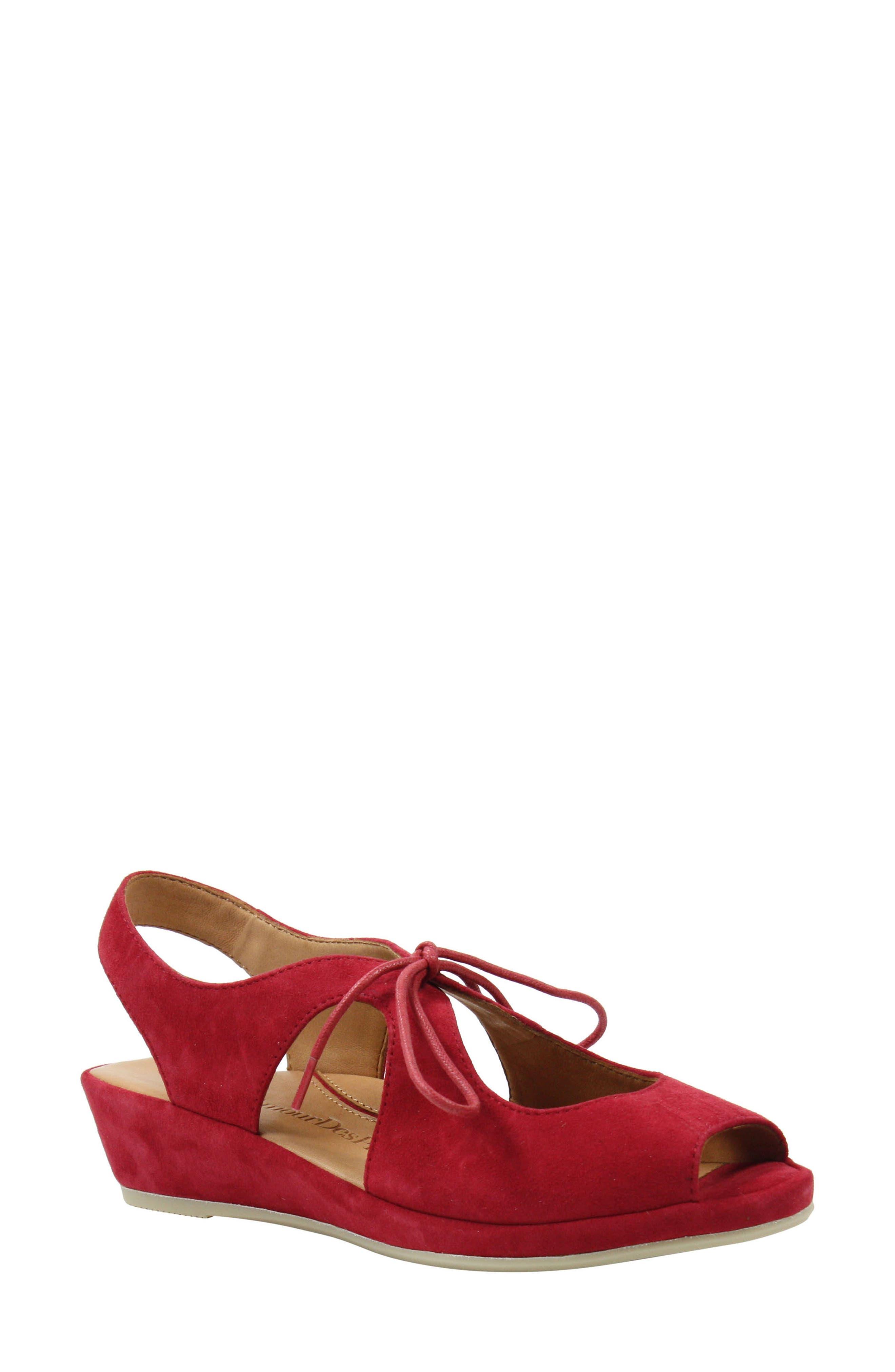 Vintage Sandal History: Retro 1920s to 1970s Sandals Womens LAmour Des Pieds Brettany Sandal Size 8 M - Red $119.90 AT vintagedancer.com