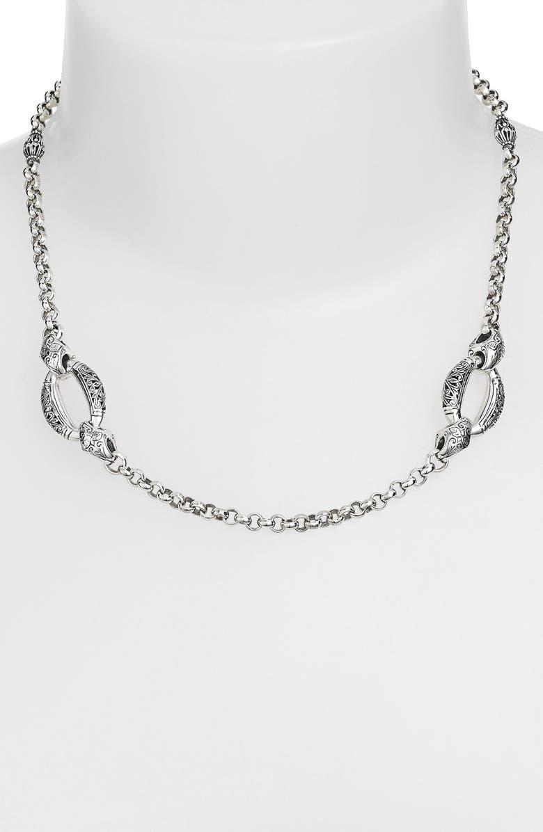 KONSTANTINO 'Classics - Daphne' Link Necklace, Main, color, SILVER