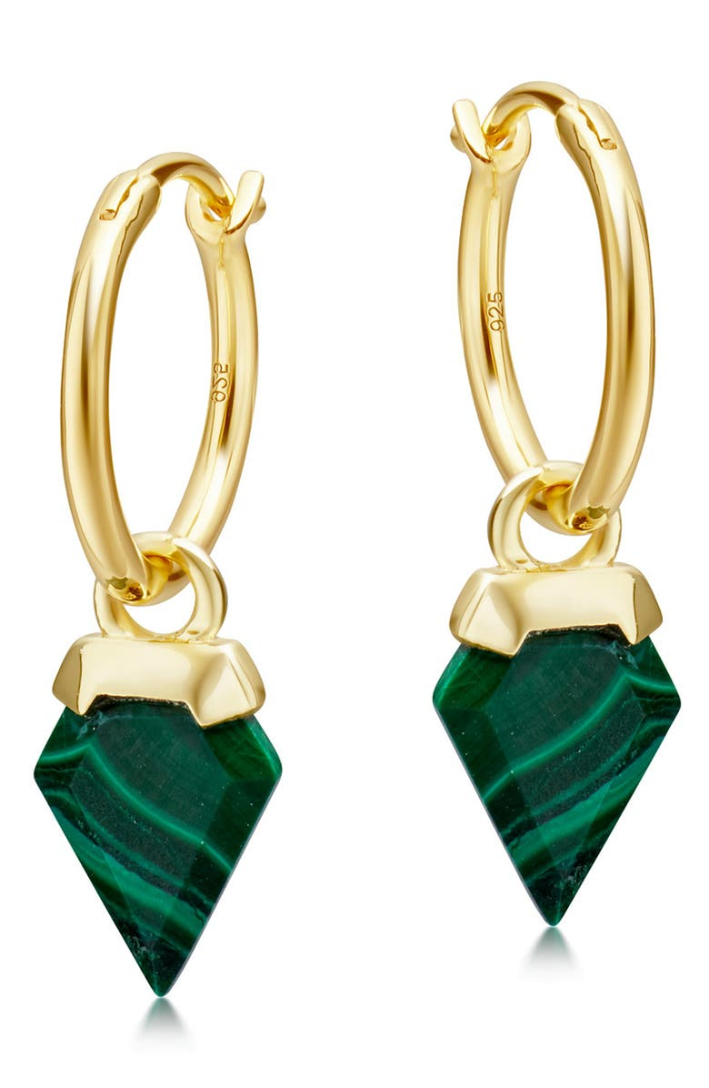 MISSOMA Mini Shield Hoop Earrings, Main, color, MALACHITE/ GOLD