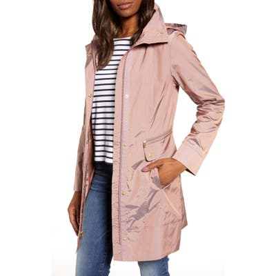 Cole Haan Signature Back Bow Packable Hooded Raincoat, Pink