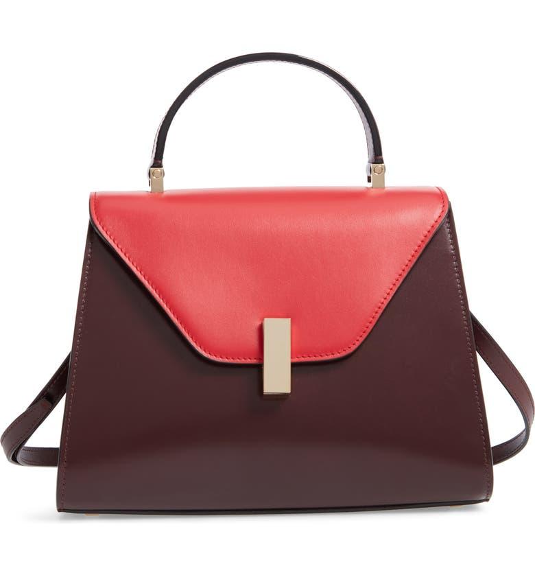 VALEXTRA Iside Medium Colorblock Leather Top Handle Bag, Main, color, FRAGOLA/ GRANATA