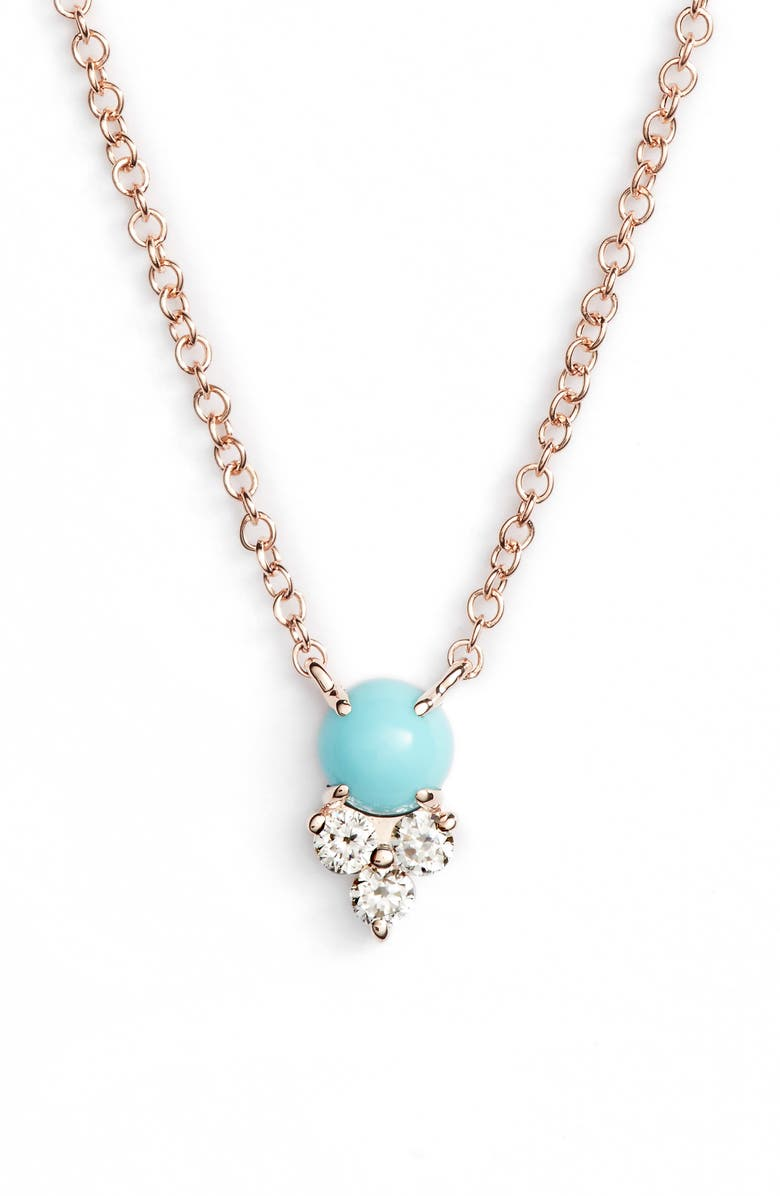 EF COLLECTION Diamond Trio Stone Pendant Necklace, Main, color, ROSE GOLD/ TURQUOISE