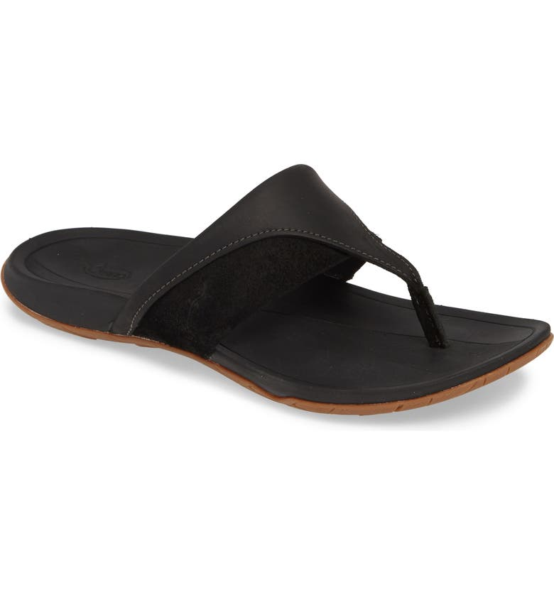 CHACO Hermosa Flip Flop, Main, color, BLACK LEATHER