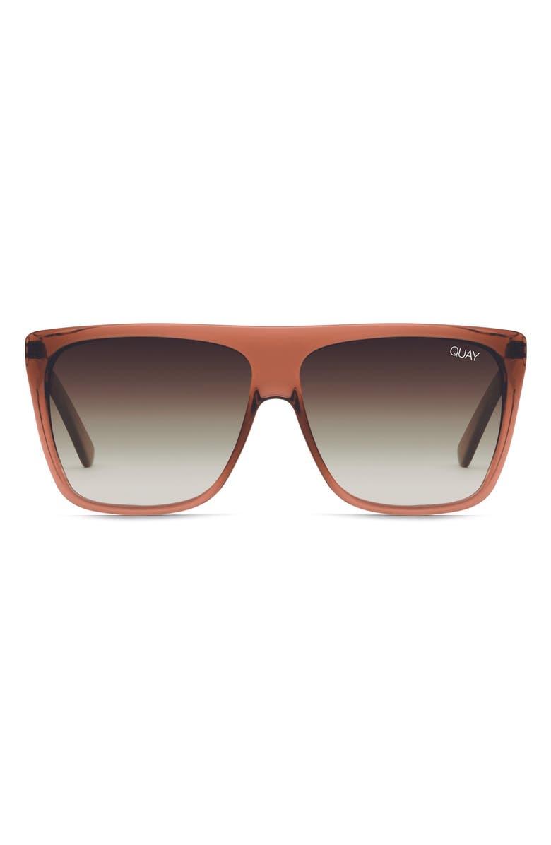 QUAY AUSTRALIA x Desi Perkins 'On the Low' 60mm Oversize Square Sunglasses, Main, color, COFFEE/ BROWN