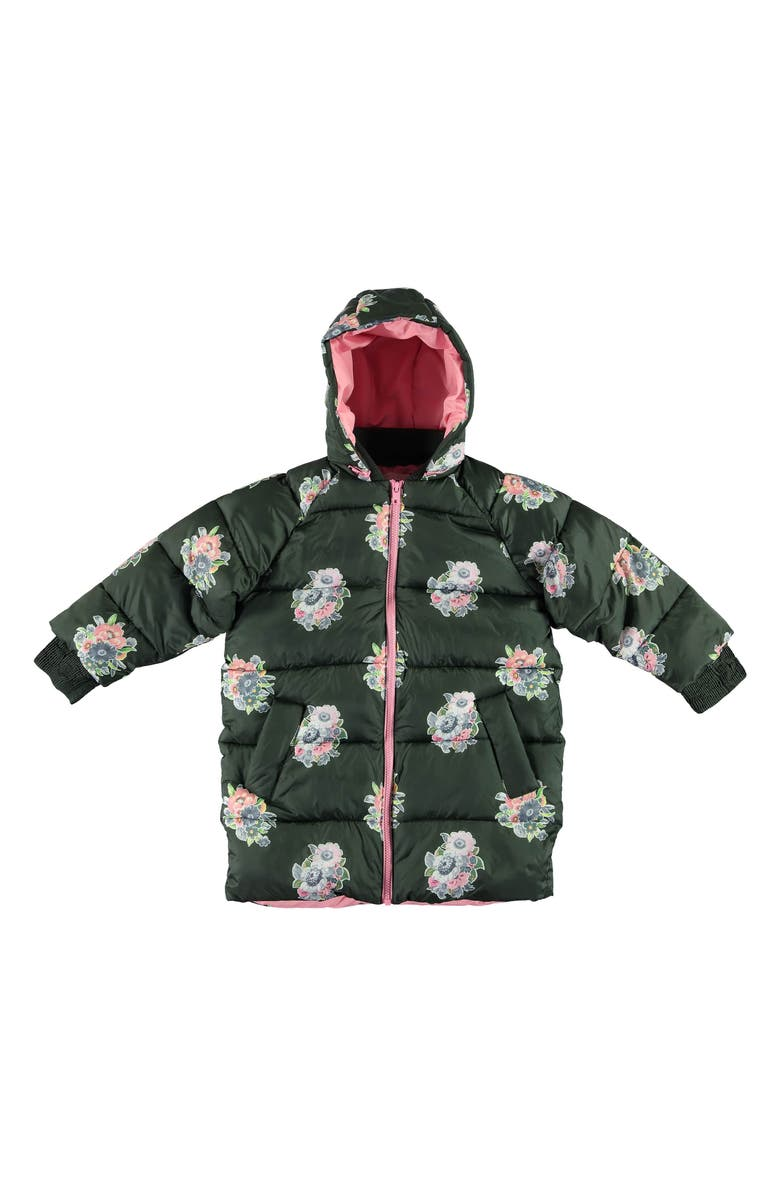 STELLA MCCARTNEY KIDS Flower Hooded Puffer Jacket, Main, color, GREEN