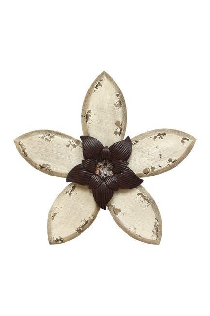 Image of Stratton Home White/Espresso Antique Flower Wall Decor
