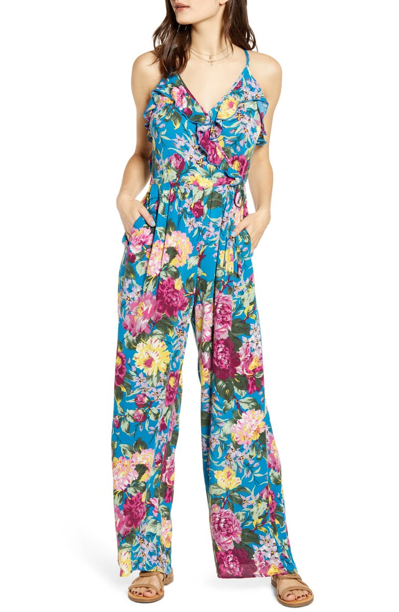 BAND OF GYPSIES Amazonite Floral Print Jumpsuit, Main, color, PEACOCK BLUE MAGENTA