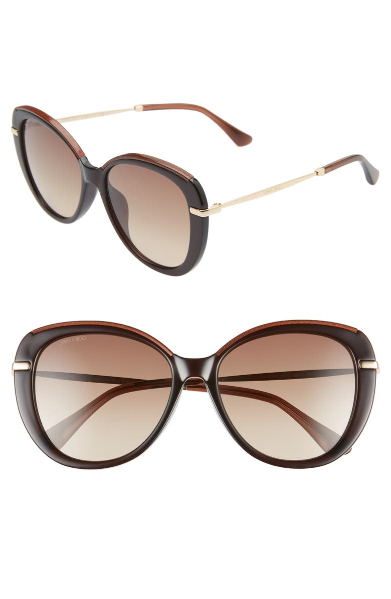 JIMMY CHOO Phebe 56mm Special Fit Butterfly Sunglasses, Main, color, BROWN/ BROWN GRADIENT