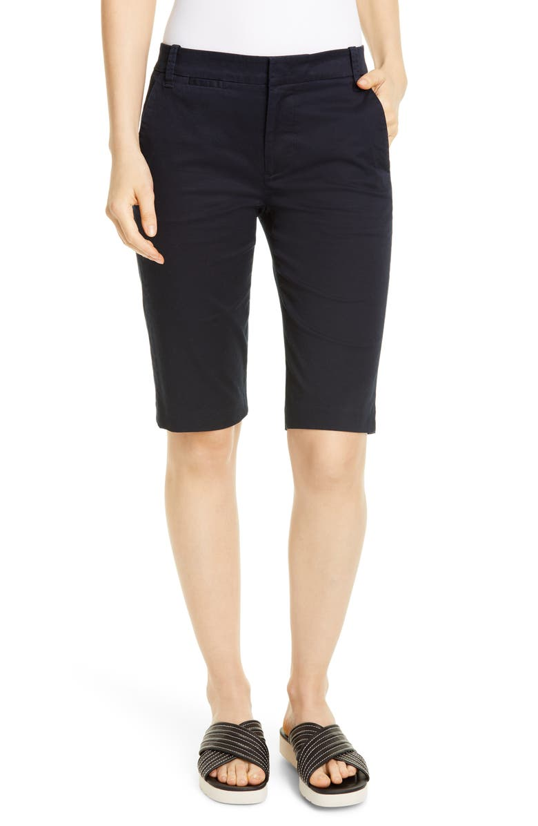 VINCE Coin Pocket Stretch Cotton Bermuda Shorts, Main, color, COASTAL