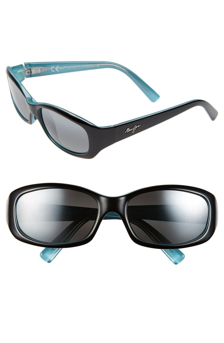MAUI JIM Punchbowl 54mm PolarizedPlus2<sup>®</sup> Rectangular Sunglasses, Main, color, BLACK W/ BLUE