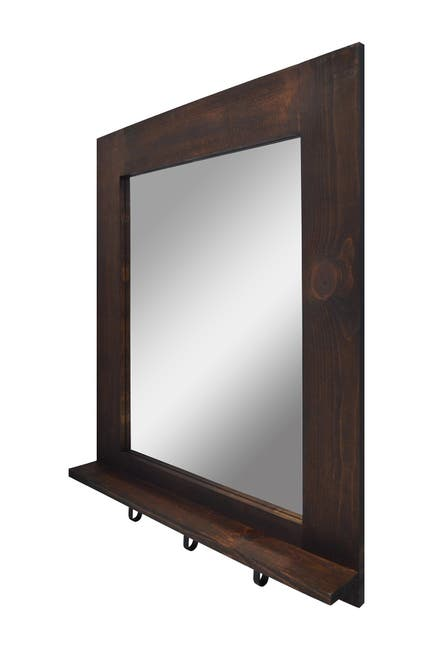 PTM Images Rustic Wood Mirror with Shelf and Hooks