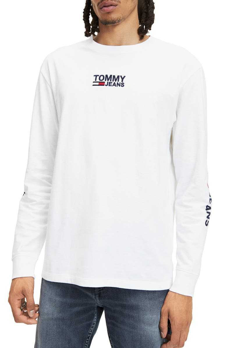 TOMMY JEANS TJM Corp Embroidered Long Sleeve T-Shirt, Main, color, CLASSIC WHITE