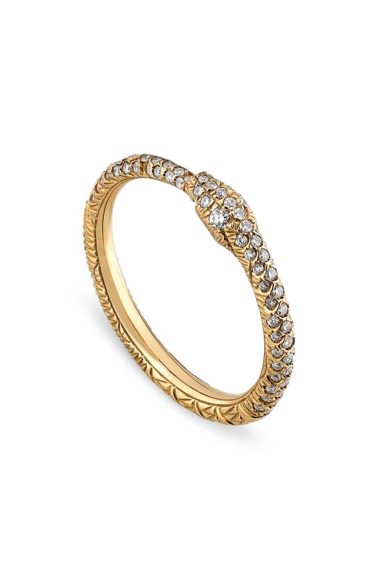 GUCCI Ouroboros Diamond Pavé Snake Ring, Main, color, D0.35 18KYG