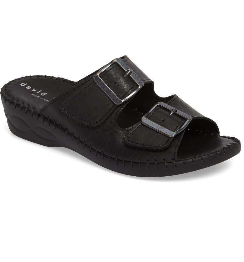 DAVID TATE Sol Sandal, Main, color, BLACK LEATHER