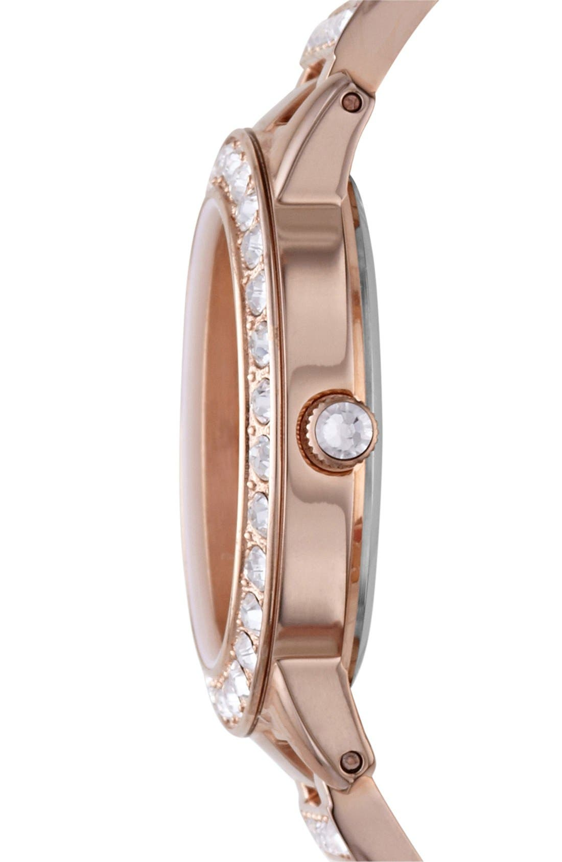 ,                             'Jesse' Crystal Embellished Bracelet Watch, 34mm,                             Alternate thumbnail 3, color,                             ROSE GOLD