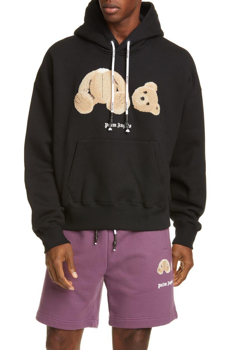 PALM ANGELS Bear Crop Hoodie, Main, color, BLACK MULTICOLOR
