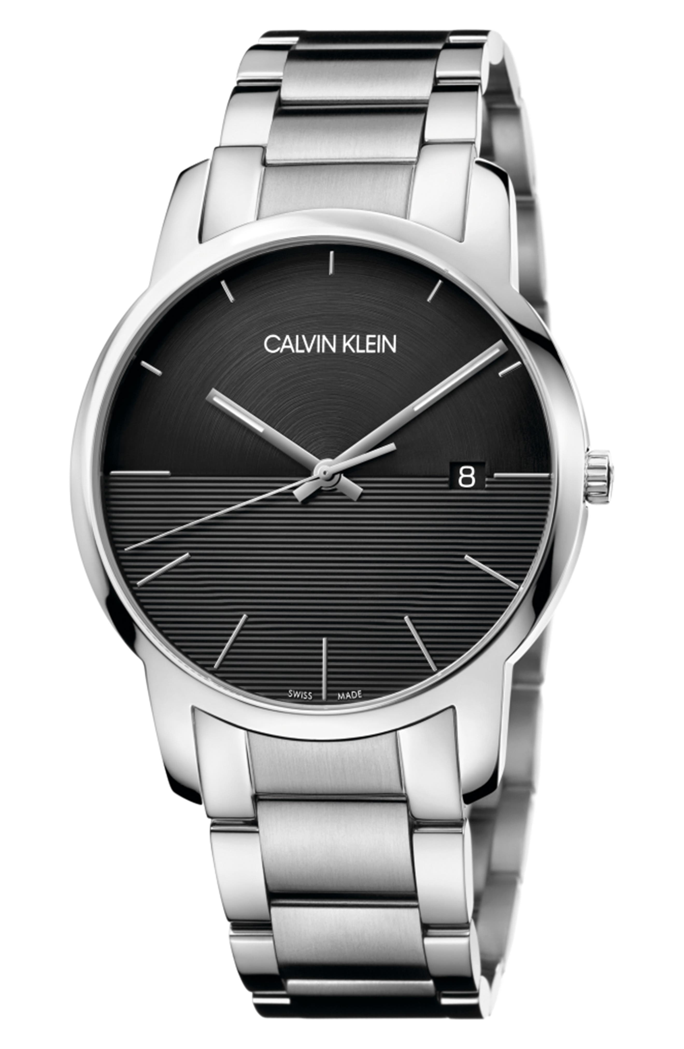 City Bracelet Watch, 43mm, Main, color, SILVER/ BLACK/ SILVER