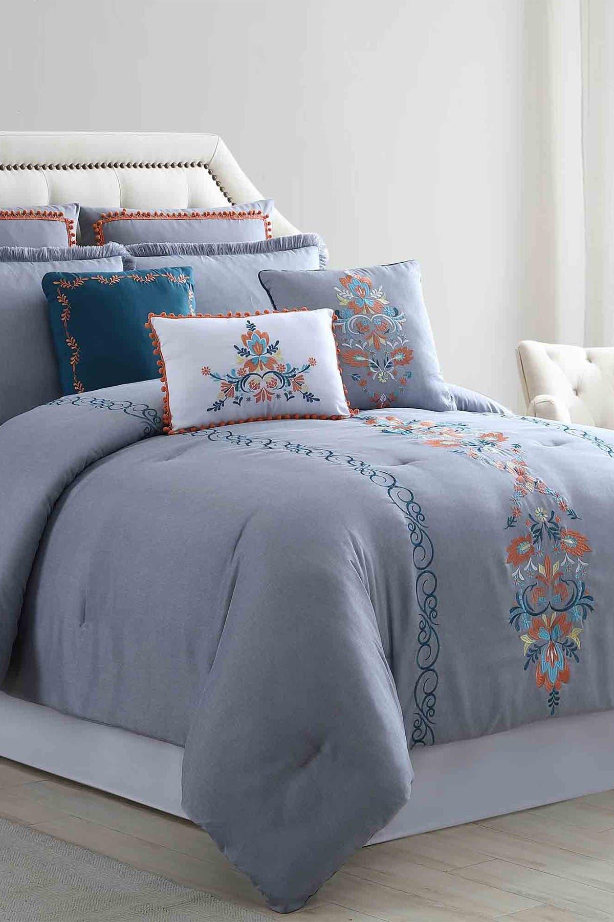 Image of Modern Threads Frida 8-Piece Queen Embellished Comforter Set - Gray