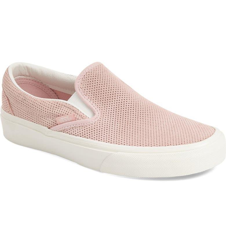 VANS Classic Slip-On Sneaker, Main, color, PEACHSKIN PERFORATED SUEDE