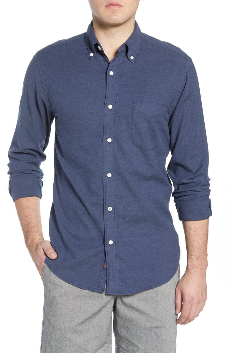 FAHERTY Regular Fit Stretch Oxford Shirt, Main, color, NAVY