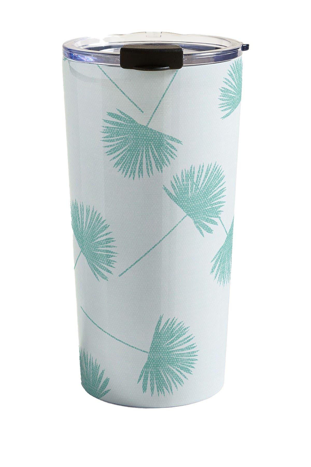 Image of Deny Designs Little Arrow Design Co Woven Fan Palm in Teal Travel Mug