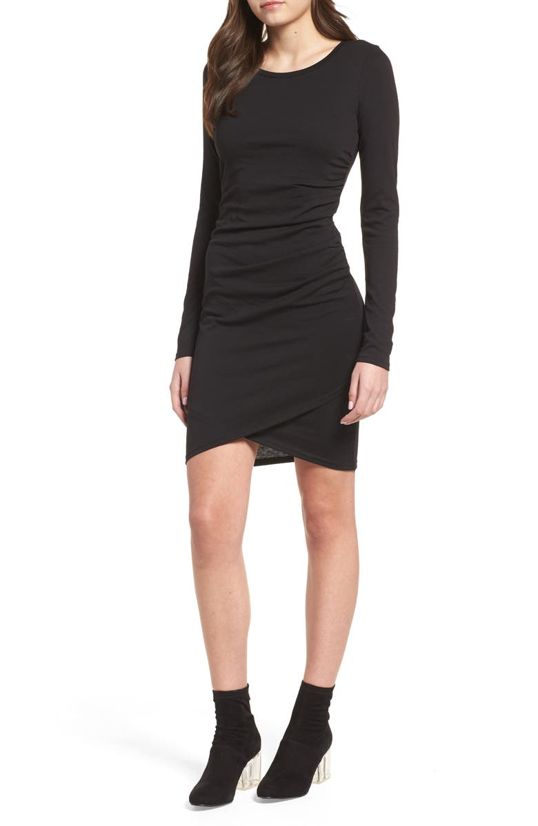 LEITH Ruched Long Sleeve Dress, Main, color, 001