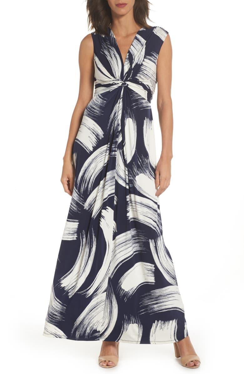 ELIZA J Front Knot Jersey Maxi Dress, Main, color, NAVY/ IVORY