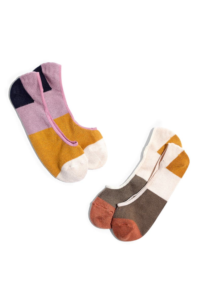 MADEWELL 2-Pack Colorblock No Show Socks, Main, color, 700