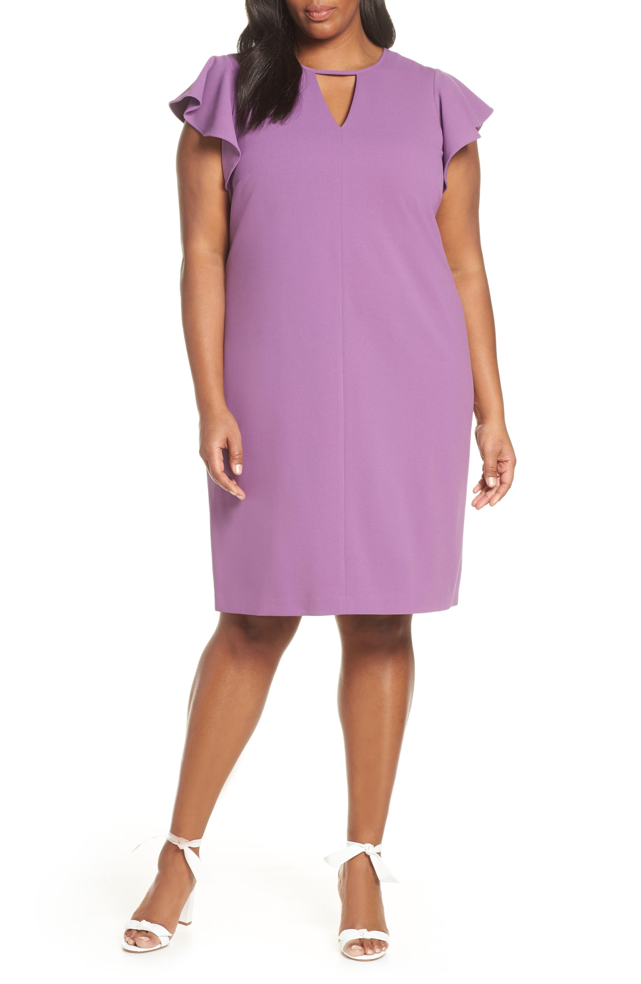 Plus Size Vince Camuto Flutter Sleeve Ponte Sheath Dress, Purple