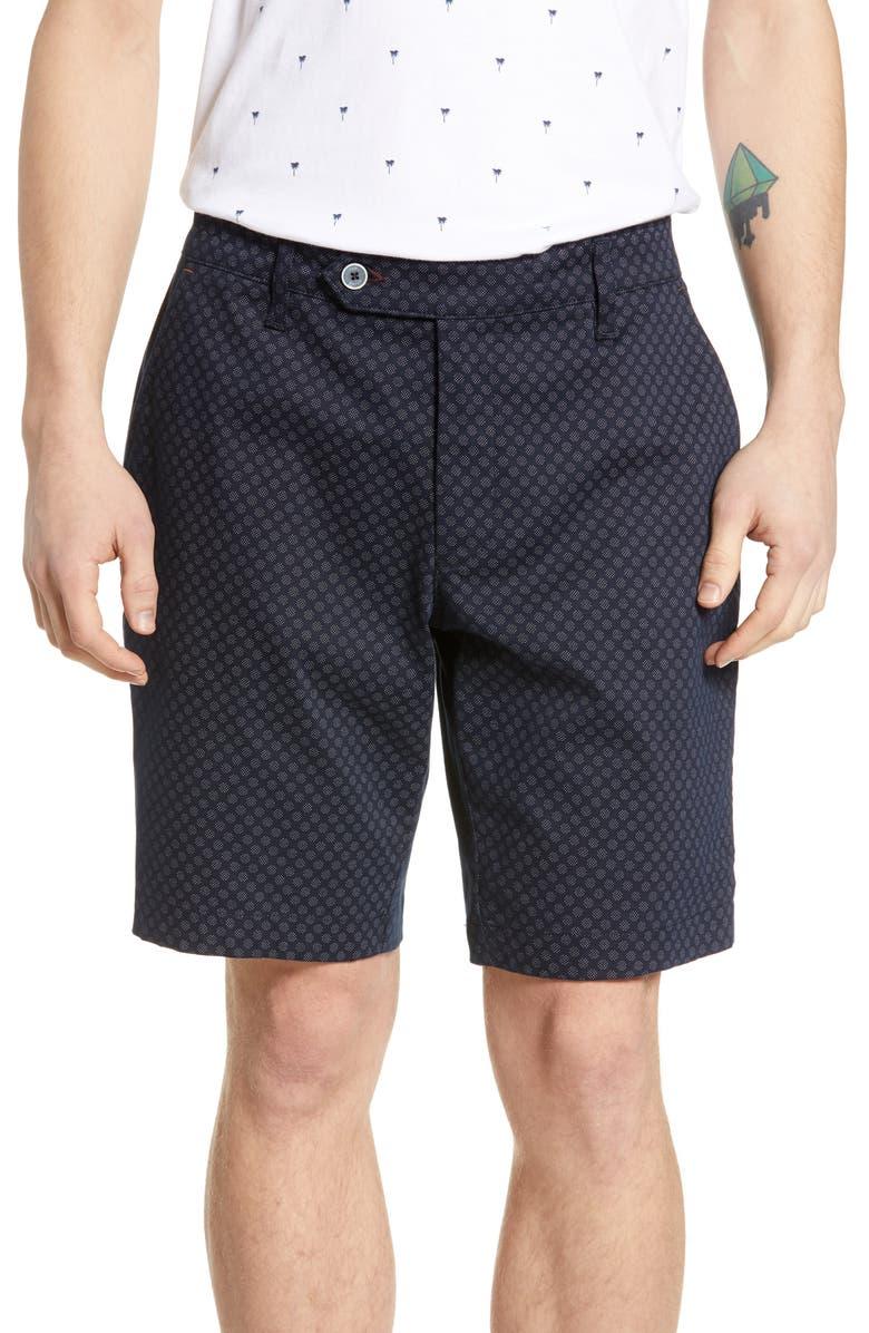 TED BAKER LONDON Italie Slim Fit Print Shorts, Main, color, 410