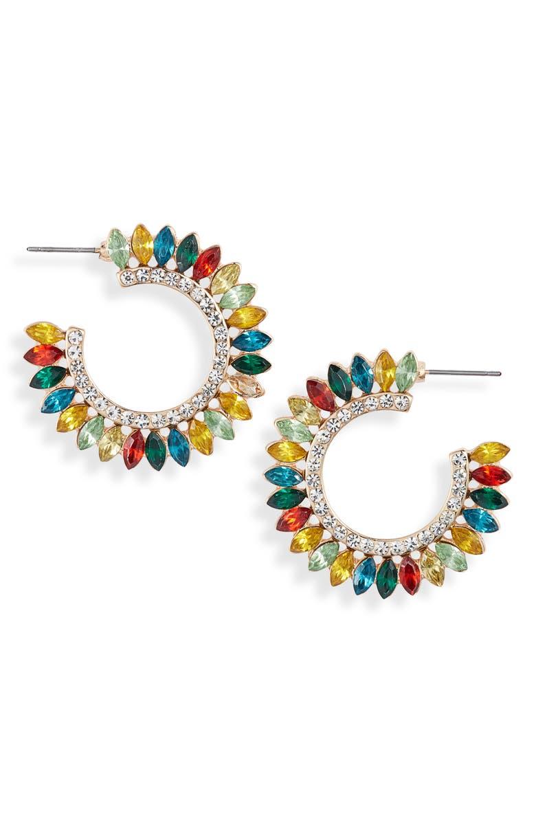 KNOTTY Crystal Fan Statement Hoop Earrings, Main, color, GOLD/ CLEAR/ MULTI