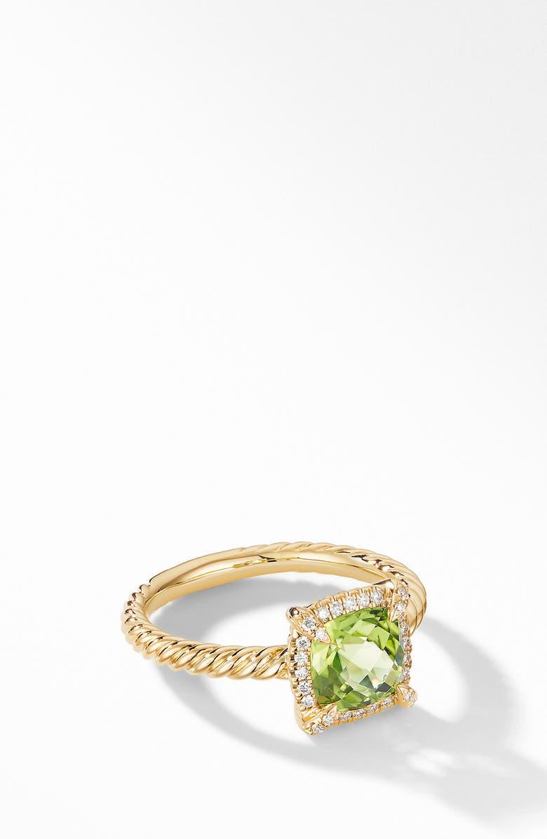 DAVID YURMAN Petite Chatelaine<sup>®</sup> Pavé Bezel Ring, Main, color, PERIDOT