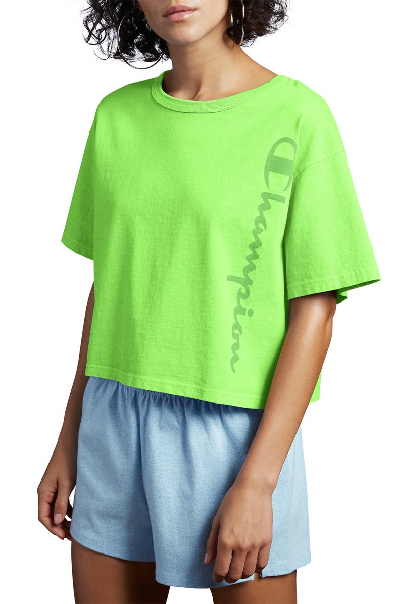 CHAMPION Garment Dye Crop Tee, Main, color, GREEN CONFECTION