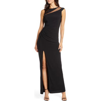 Adrianna Papell Mesh Inset Jersey Column Gown, Black