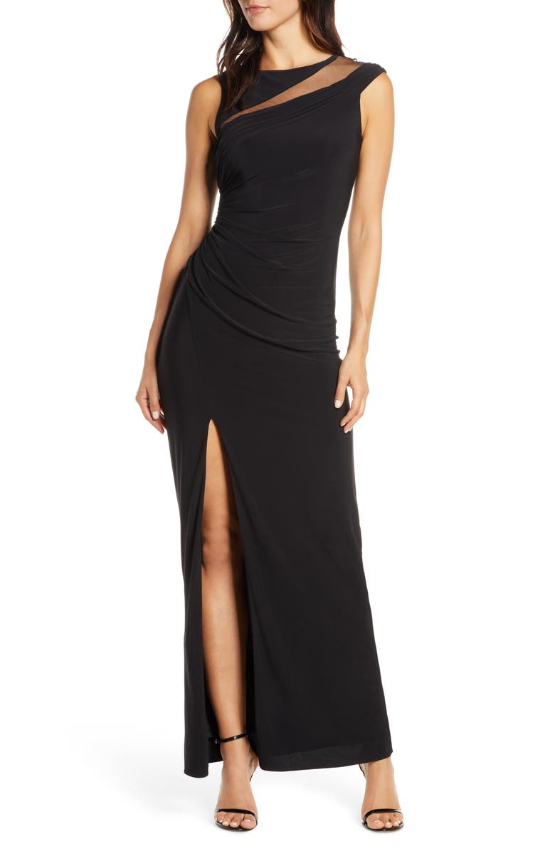 ADRIANNA PAPELL Mesh Inset Jersey Column Gown, Main, color, BLACK