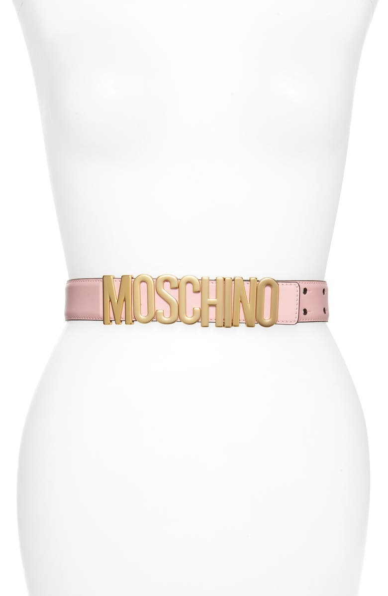 MOSCHINO Logo Plate Leather Belt, Main, color, PINK/ GOLD
